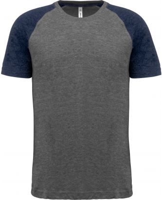 T-shirt manches courtes sport Triblend bicolore PA4010 - Grey Heather / Sporty Navy Heather