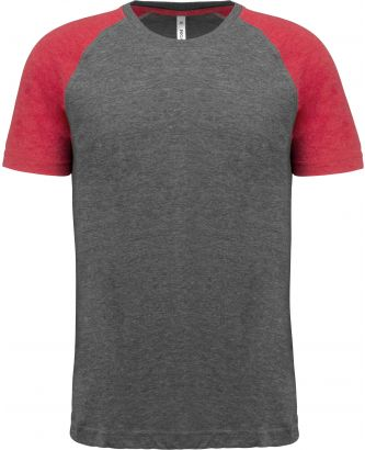 T-shirt manches courtes sport Triblend bicolore PA4010 - Grey Heather / Sporty Red Heather