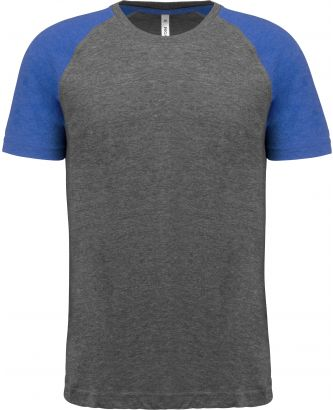 T-shirt manches courtes sport Triblend bicolore PA4010 - Grey Heather / Sporty Royal Blue Heather