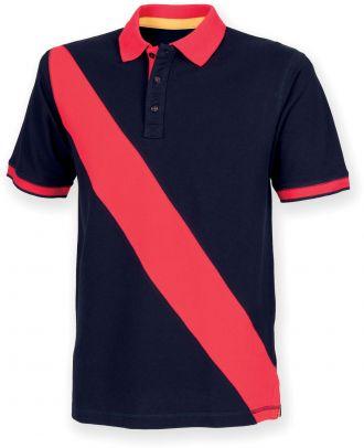Polo homme diagonal stripe FR212 - Navy / Red