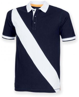 Polo homme diagonal stripe FR212 - Navy / White
