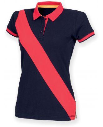 Polo femme diagonal stripe FR213 - Navy / Red