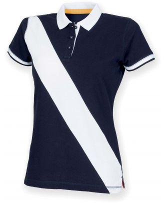 Polo femme diagonal stripe FR213 - Navy / White
