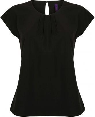Top femme col plissé H597 - Black