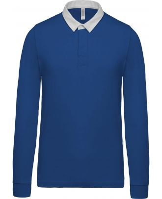 Polo rugby K213 - Light Royal Blue / White