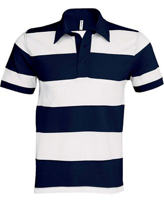 Polo rugby rayé manches courtes K237 - Navy / White