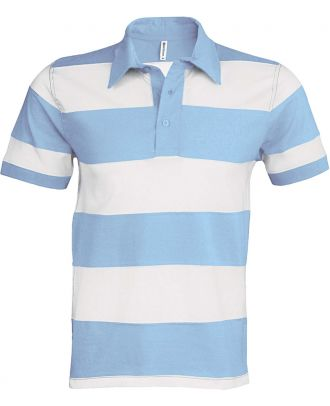 Polo rugby rayé manches courtes K237 - Sky Blue / White