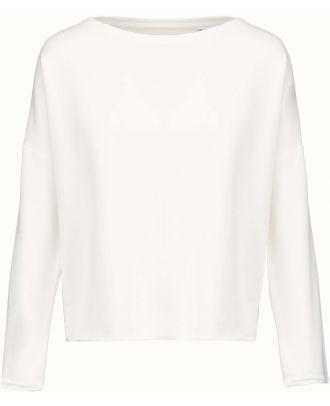 Sweat-shirt femme Loose K471 - Off White