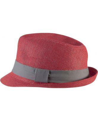 Chapeau en fibre végétale KP608 - Red / Grey
