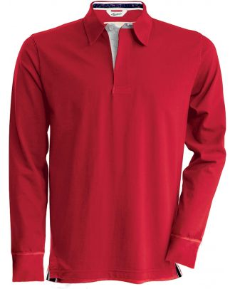 Polo rugby vintage manches longues KV2202 - Vintage Red