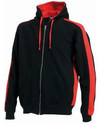 Sweat-shirt zippé à capuche LV330 - Black / Red