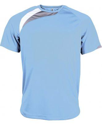 T-shirt unisexe manches courtes sport PA436 - Sky Blue / White / Storm Grey