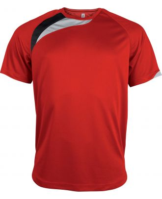 T-shirt unisexe manches courtes sport PA436 - Sporty Red / Black / Storm Grey