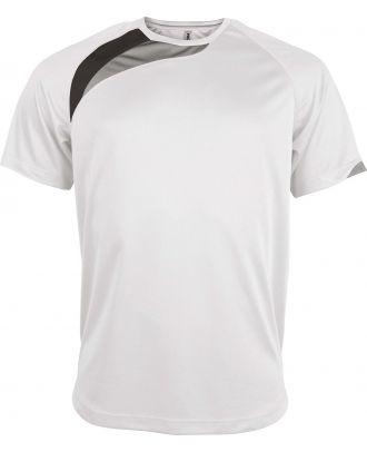 T-shirt unisexe manches courtes sport PA436 - White / Black / Storm Grey