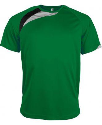 T-shirt sport enfant manches courtes PA437 - Green / Black / Storm Grey