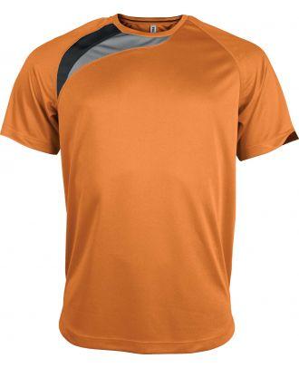T-shirt sport enfant manches courtes PA437 - Orange / Black / Storm Grey