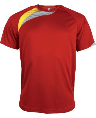 T-shirt sport enfant manches courtes PA437 - Sporty Red / Sporty Yellow / Storm Grey