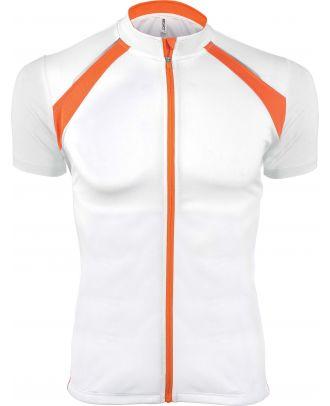 Maillot cycliste homme zippé manches courtes PA447 - White / Orange