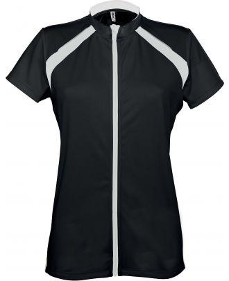 Maillot cycliste femme zippé manches courtes PA448 - Black / White -