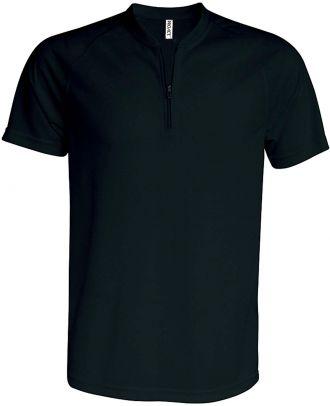 T-shirt 1/4 zip manches courtes unisexe PA486 - Black