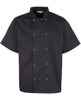 Veste de cuisine manches courtes à boutons pression PR664 - Black