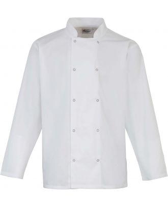 Veste de cuisine manches longues à boutons pression PR665 - White