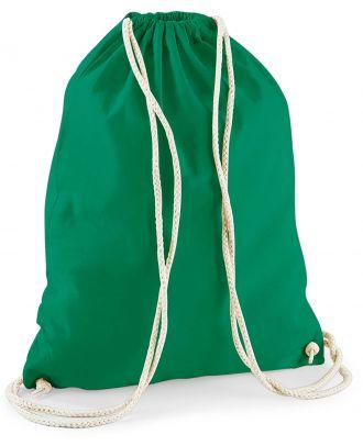 Gymsac en coton W110 - Kelly Green - 37 x 46 cm de dos