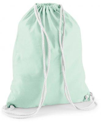 Gymsac en coton W110 - Pastel Mint / White - 37 x 46 cm de dos