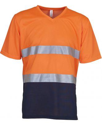 T-shirt haute visibilité HVJ910 - Hi Vis Orange / Navy