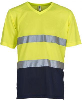 T-shirt haute visibilité HVJ910 - Hi Vis Yellow / Navy