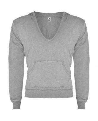 Sweat-shirt homme à capuche col V AMANDUS GRIS CHINÉ