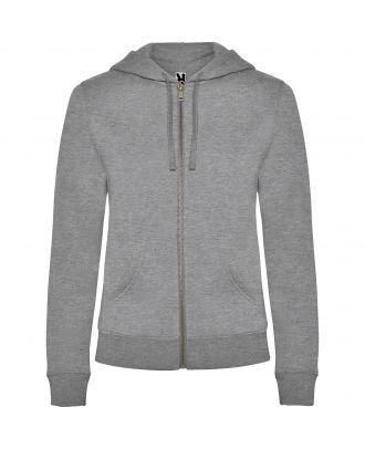 Sweat-shirt femme capuche VELETA gris chiné